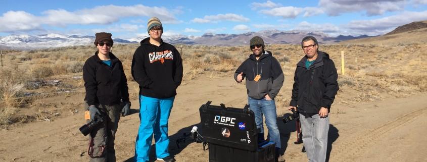 The team having fun in the Nevada desert.